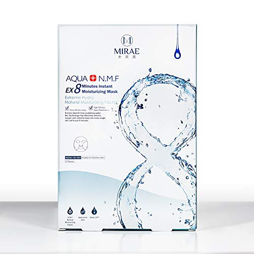 MIRAE Beauty 8 Minutes Hydrating Facial Sheet Mask - Hypoallergenic Essence for Intense Hydration, Dry/Combination Skin Locks in Moisture, Tightens and Provides a Dewy Skin Glow ()