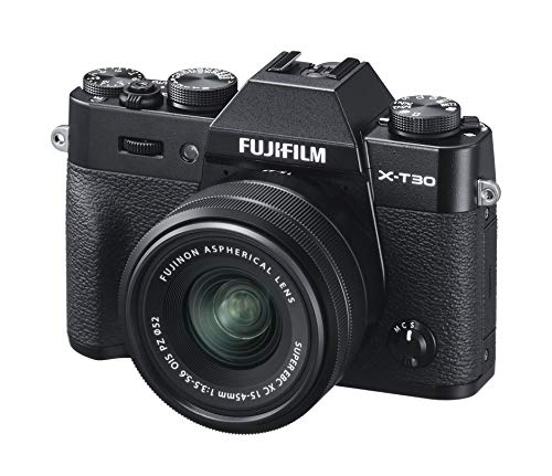 Fujifilm X-T30 Mirrorless Digital Camera, Black with Fujinon XC15-45mm Optical Image Stabilisation Power Zoom Lens kit, Black