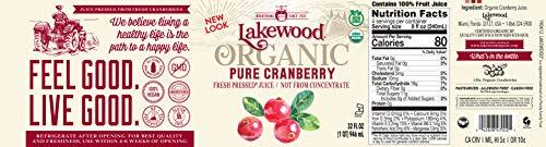 Lakewood Organic Pure Cranberry Juice, 32 Ounce Bottle (Fruit Juice Pack of 6) by Lakewood (Image #3)