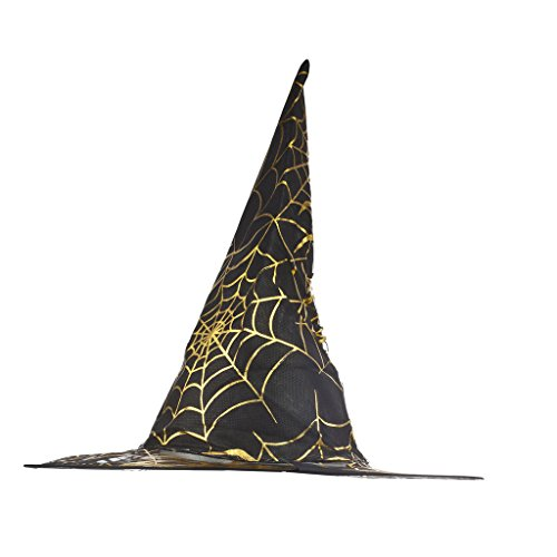 Lux Accessories Black Goldtone Spider Web Halloween Costume Printed Mesh Witch Hat - Child Size (Collection Halloween Movie Scary Village)