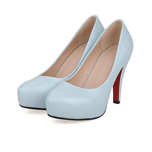 Toe PU Closed Blue Pumps WeiPoot Shoes Solid High Women's Pull Heels On t7qxx6w