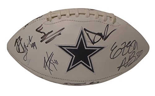 2017 Dallas Cowboys Team Autographed Hand Signed Logo White Panel Football with 24 Signatures Total and Proof Photos of Signing, COA, Dak Prescott Ezekiel Elliott, Jason Garrett