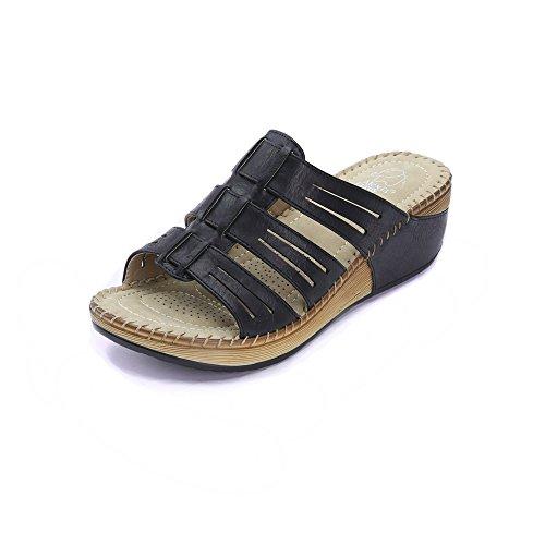 Image of Alexis Leroy Women's Classic Platform Double Hook & Loop Slipper Low Wedge Sandals