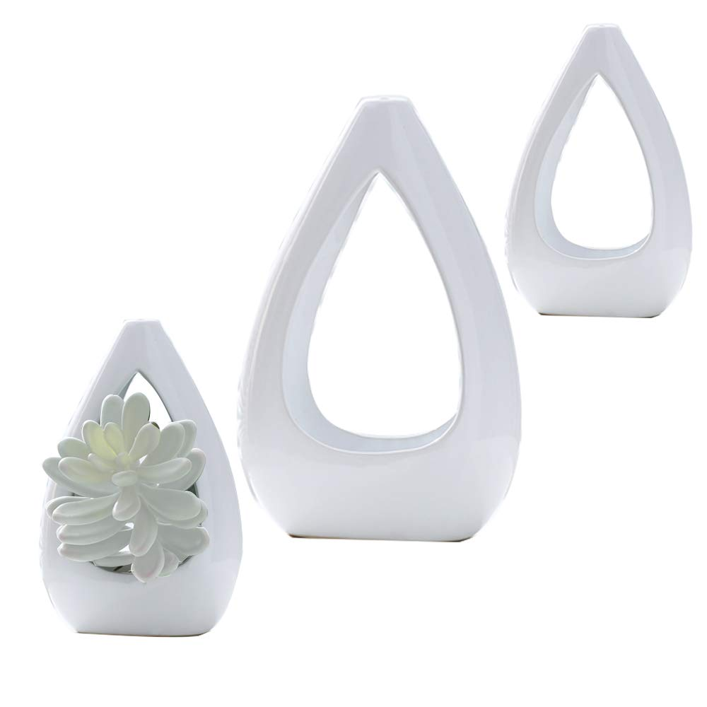 3 Pack Hanging Planter for Indoor Plants White Ceremic Pots Air Succulent Holder Container Cactus Pot with Rope Hanger