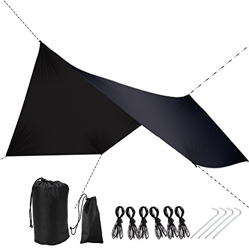 PAMASE 11.5' Waterproof Hexagon Hammock Rain Black Large Fly Sun Shelter for Tent - 1.7 lbs Ripstop Nylon Tarp Shelter for Camping Backpacking Hiking