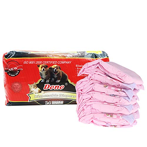 SunGrow Dono Pet Diapers, Fits 11-19 Inches Waist, Quick and Easy to Dress, for Female Dogs and Cats, No Mess, Leak-Proof Design, Eco-Friendly Material, Disposable Diapers, Pink, 14 per Pack