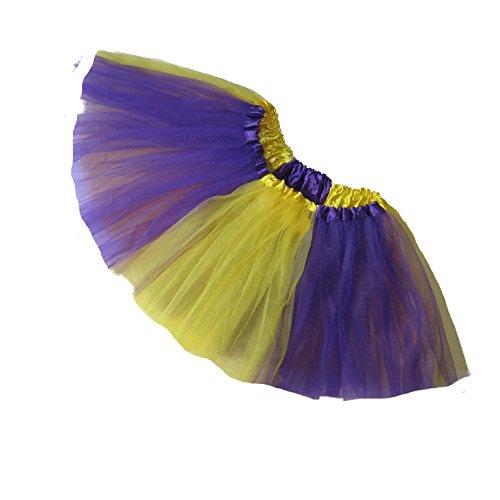 [Southern Wrag Company ADULT TEAM SPIRIT Tutu PURPLE YELLOW Sizes S-XXL (S:TUTU WAIST 22-42)] (Plus Size Tiger Costumes)