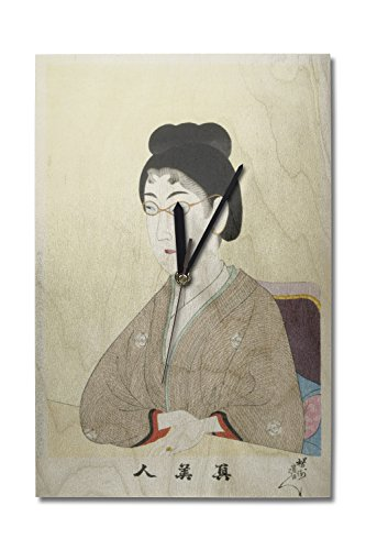 Lantern Press Woman Wearing Wire Spectacles Japanese Wood-Cut Print (10x15 Wood Wall Clock, Decor Ready to ()