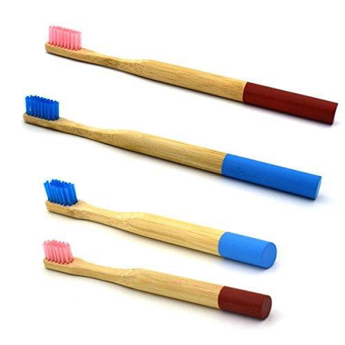 光の防衛頬ROSENICE 2組 竹の歯ブラシ 自然な竹エコフレンドリーな柔らかい毛の旅行の歯ブラシ(青+ピンク)