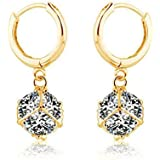 Laskey® Swarovski Elements Sparkling Ladies Gold Cubed Earrings made with Austrian Crystal For Women Christmas Promotion