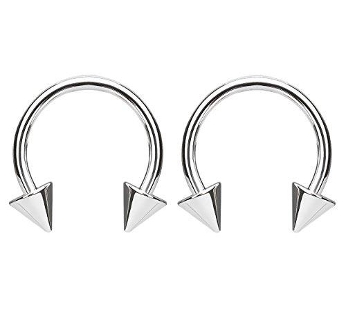 Spike Circular Barbell - Pierced Owl G23 Solid Titanium Spike End Circular Horseshoe Barbells - Sold as a Pair (14GA - 1/2