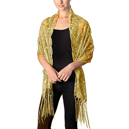 Womens Flower Sequin Decor Evening Wrap Shawl Party Scarf with Tassel (Gold)