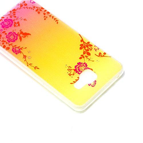 Funda para Samsung Galaxy A32016, Samsung Galaxy A32016funda, ukayfe Samsung Galaxy A32016silicona Carcasa Funda teléfono móvil Cereza Flores Mariposa Patrón Bling brillante brillante cristal dia Blumen und Schmetterling