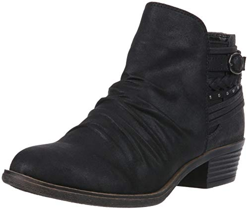 Casual Black Scrunch Low Heel Tali Sugar Details Bootie Back with Women's Fab Ankle Trendy Strap Suede Boot STHxCq