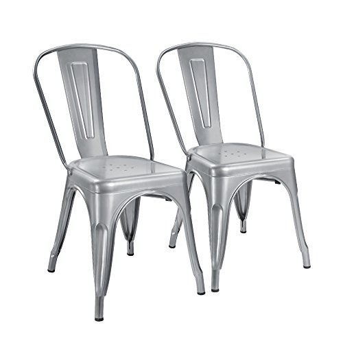 Cheap  Devoko Tolix Silver Metal Chairs Indoor Outdoor Stackable Dining Chairs Kitchen Modern..
