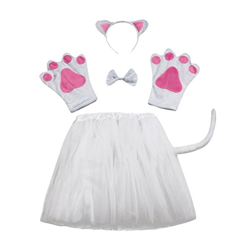 ACTLATI 6 Pcs/Set Cute Animal Headband Tail Bowtie Paws Fancy Tutu Dress Child Kids Cosplay Party Kit White Cat - White Cat Costume Kit