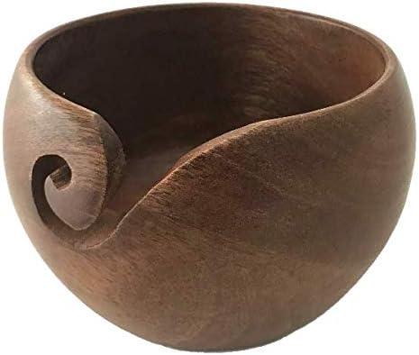 wangza Garnschale Holz Handgefertigte Woll-Schale Runde Garn Aufbewahrungsschale zum Stricken und H/äkeln Garn Sch/üssel
