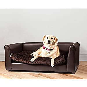 Keet Fluffly Deluxe Pet Bed Sofa Chocolate large
