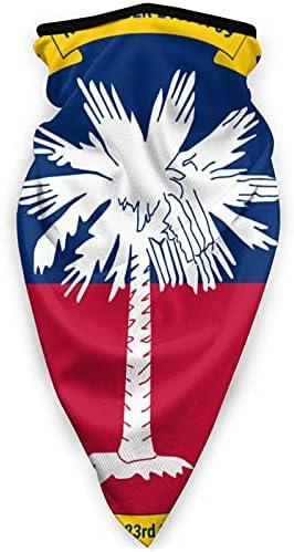 Flag of South Carolina multifunctioneel sportmasker balaclava winddicht uniseks gezichtsmasker tulband sjaal volwassenen outdoor sport muts hoofddeksels zwart