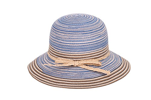Women's Summer Foldable Floppy Colorful Stripe Straw Hat