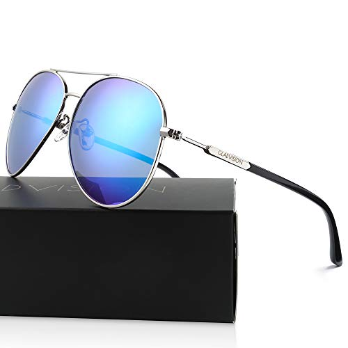 GLADVISION Polarized Metal Frame Mirrored Retro 80s Aviator Sunglasses for Men, ()