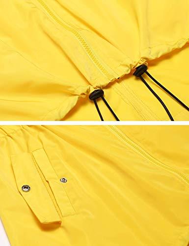Waterproof Aimage Hooded Raincoat Rain Outerwear Lightweight Long Sleeve Jacket Womens Yellow nAn0SxqRw