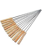 12PCS الشواء سيخ الإبر الفولاذ المقاوم للصدأ ملصقا مع مقبض خشبي في الهواء الطلق الملحقات الشواية