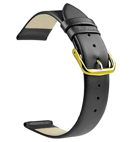 ZLIMSN Soft Genuine Leather Watch Band 18mm 20mm 22mm Brown Black Smooth Thin Full Grains Strap (22mm, Black&Gold(pvd) Buckle) ()