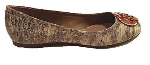 Tory Burch Shoes Reva Ballet Classic Flats Leather Lizard Print NATURAL/GOLD (7.5) (Tory Burch Shoes Reva)