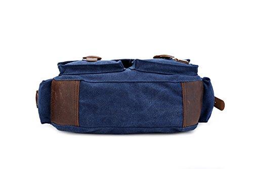 sulandy @ nuevo estilo Vintage lienzo grande Unisex Messenger bolso bandolera de piel Trim escuela Militar bolsa de hombro bolso bandolera, army green 44, large azul oscuro