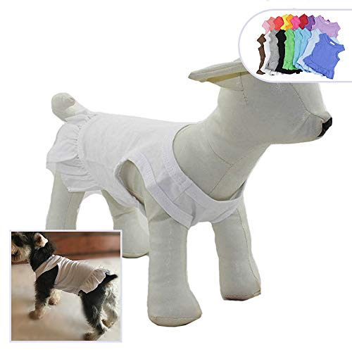 Pet Clothes Small Dog Clothing Blank Color Sport Dress T-Shirts Tee Dresses Tanks Top for Small Size Female Dogs Summer Spring Pet Costumes 100% Cotton (L, White)
