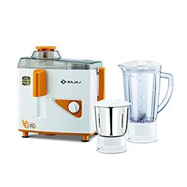 Bajaj Neo JX4 450-Watt Juicer Mixer Grinder with 2 Jars (White/Orange) 10