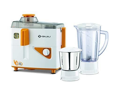 Bajaj Neo JX4 450-Watt Juicer Mixer Grinder with 2 Jars (White/Orange) 5