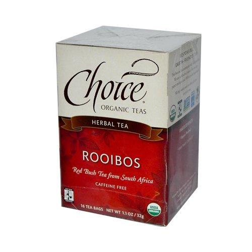Choice Organic Rooibos, Red Bush Tea, Caffeine Free, 16-Count Box (Pack of 6)