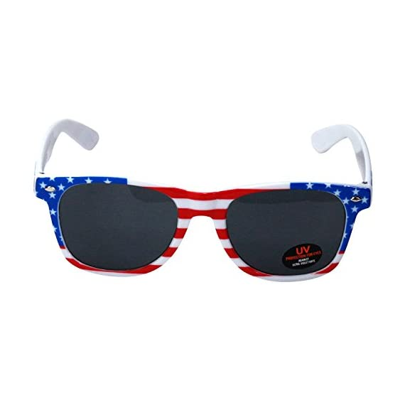 USA Merchant | Sunglasses for Men, Women & Kids by Ray Solée- 3 Pack of Tinted Lenses with UVA & UVB Protection 4 3 PIECE PACK - This bulk pack of inexpensive shades comes with 3 American flag themed glasses great for summer time and parties all year round. UVA&UVB - Ray Solée glasses are ultraviolet tinted with anti-reflective UV 400 protection from the sun. MONEY BACK GUARANTEE- We are so sure that you will love our product that it comes with a 30 day Risk-Free 100% money-back-guarantee. If you are not fully satisfied with our product, let us know and receive a full refund.
