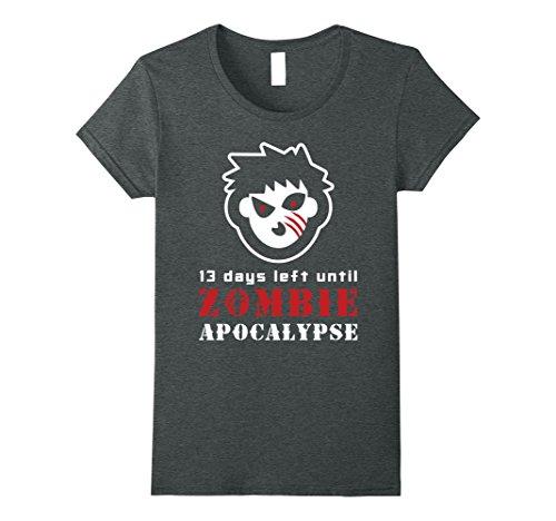 Womens 13 Days Left Until Zombie Apocalypse TShirt | Halloween Gift Medium Dark Heather (Days Left Until Halloween)
