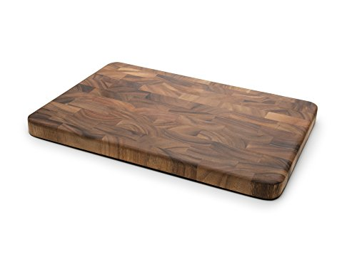 Ironwood Gourmet 28217 Large Charleston End Grain Prep Station, Acacia (Dark Wood Cutting Board)