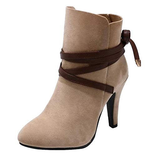 Lace Women up High Apricot Boots Ankle Heels Coolcept Fashion YOxd44