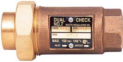 Watts LF7RU2-2 Lead-Free Brass MPT Dual Check Valve, 3/4-Inch, 1-Piece