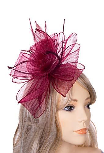 JASMINO Fascinators Hats Women Tea Party Headband Derby Fancy Hats with Hair Clip Wedding Cocktail Headwear for Girl (Wine -