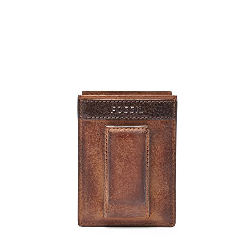 (Fossil Men's Quinn Magnetic Card Holder, Brown,)