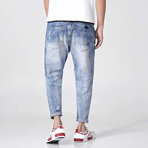 Uomo Slim Jogging Fit Pantaloni Modello Da Denim Jeans Harem Classiche Ragazzi Skinny Cargo In Blu Distrutti Design qpgtE