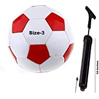 PMG Combo Rio Red-White Football Size-3 with AIR Pump and Needle for Kids 5 to 10 Year