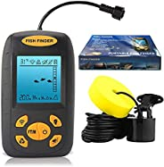 Leoter Portable Depth Fish Finder--Handheld Underwater Sonar Fish Detector with LCD, Upgraded Temperature Meas