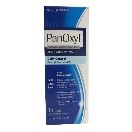 Panoxyl 4% Benzoyl Peroxide Acne Creamy Wash 6 oz in the