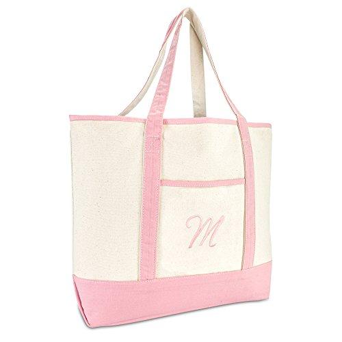 DALIX Women's Cotton Canvas Tote Bag Large Shoulder Bags Pink Monogram M