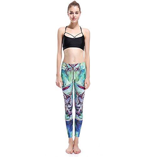 Erica Femmes Stretch Plus taille taille mi Yoga Pantalons pantalons de course Animal imprimé à la cheville Leggings