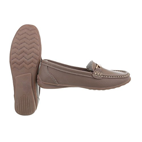 Femme 0511 Chaussures Bronzage Ital Mocassins design Plat AEAqwv