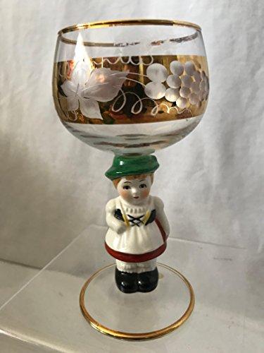 (GOEBEL Hummel Figurine Wine Glass, Bavarian Girl Goebel Wine Glass, West Germany Wine Glass 5-1/2
