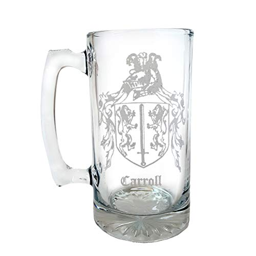 Carroll Irish Family Coat of Arms 27oz Beer Stein: Free Shipping & Personalized Engraving, Family Crest